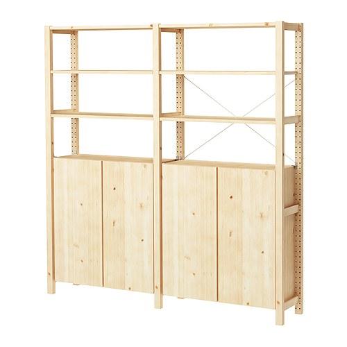 IVAR Estantería, 2 secciones con estantes y  armarios , 174x30x179cm