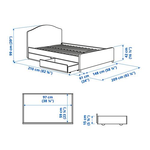 HAUGA cama 140, estructura cama tapizada con 2 cajones y somier incluido