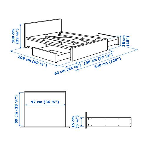 MALM estructura de cama con 4 cajones, 180cm