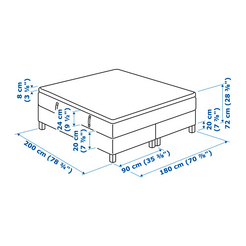 ESPEVÄR base cama con somier, 180cm