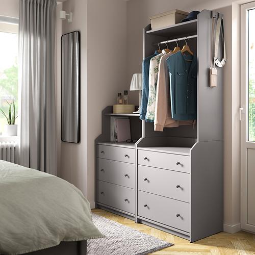 HAUGA Combinación armario abierto y cómoda, 140x46x199cm