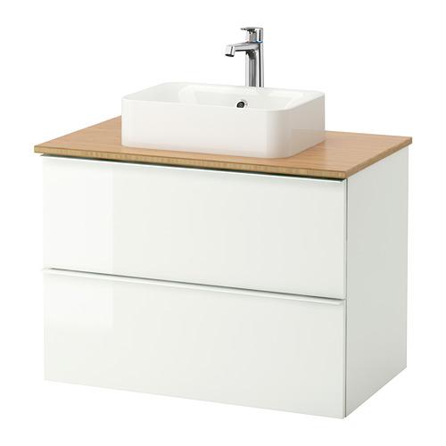 HÖRVIK/GODMORGON/TOLKEN mueble de baño para lavabo con 2 cajones, juego de 3