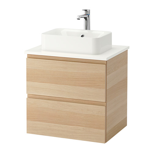 HÖRVIK/GODMORGON/TOLKEN mueble de baño para lavabo con 2 cajones, juego de 4