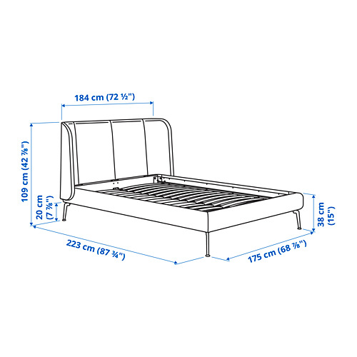 TUFJORD Cama 160, estructura cama tapizada con somier