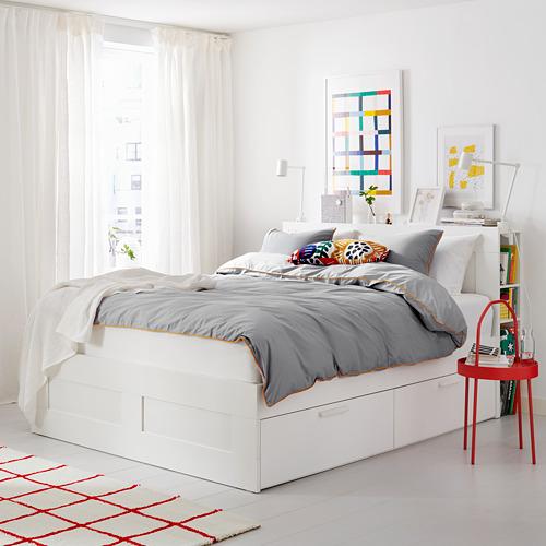 BRIMNES estructura de cama con 4 cajones y cabecero con almacenaje, 160cm