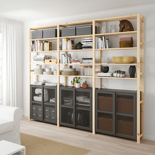 IVAR estanterías, 3 secciones con armarios, con puertas y estantes, 259x30x226cm