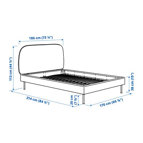 VADHEIM cama 160, estructura cama tapizada con somier