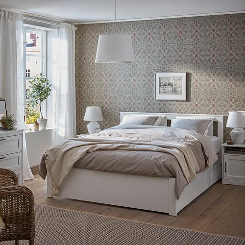 SONGESAND cama 160, estructura con 4 cajones y somier de láminas reforzadas lönset