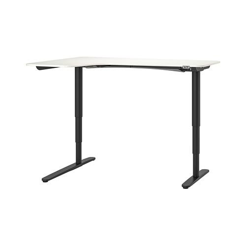 BEKANT escritorio esquina izquierda sentado/pie, 160x110cm, patas regulables con motor