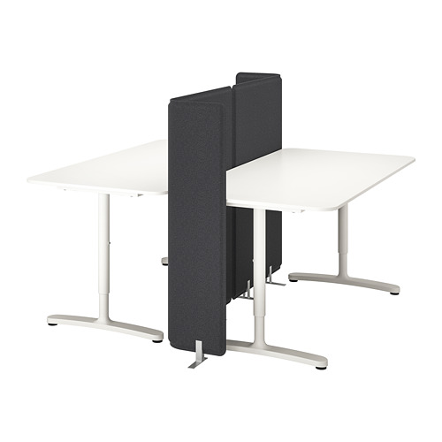 BEKANT combinación de escritorio con pantalla, 160x160cm, patas regulables