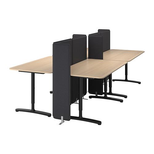 BEKANT combinación escritorio con pantalla, 320x160cm, patas regulables