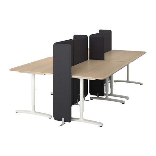 BEKANT combinación escritorios con pantalla, 320x160cm, patas regulables