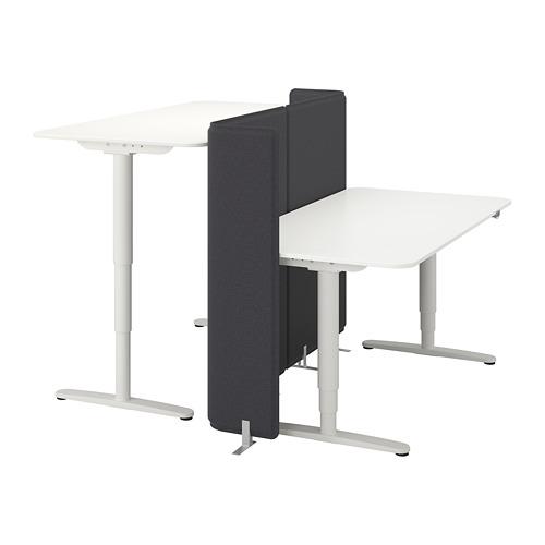 BEKANT combinación de escritorio con pantalla, 160x160cm, patas regulables con motor
