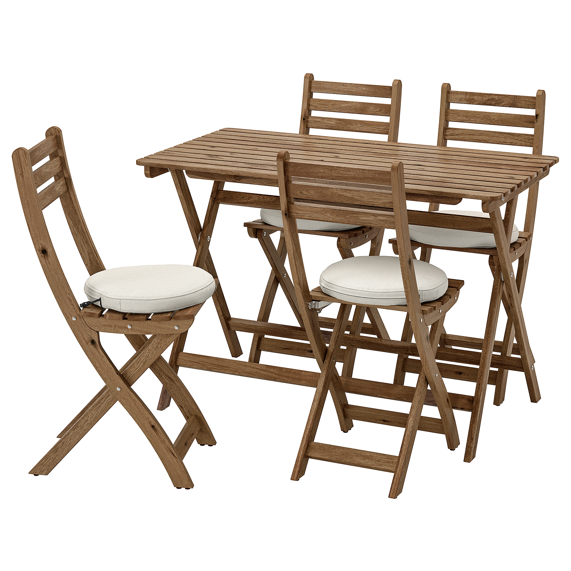ASKHOLMEN Mesa+2sill ext, gris tinte marrón grisáceo IKEA