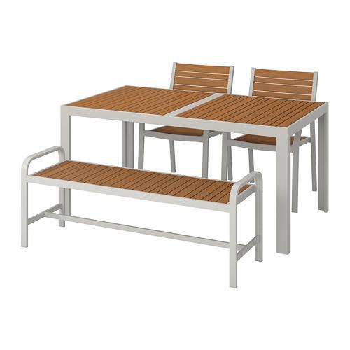 SJÄLLAND mesa+2 sillas con reposabrazos y banco de exterior