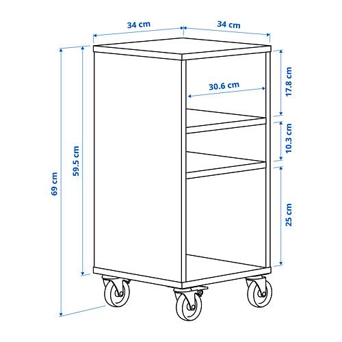 RÅVAROR estantería con ruedas, 34x34x69cm