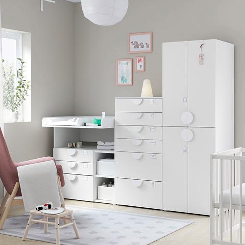 PLATSA/SMÅSTAD Combinación de armario, cajonera y cambiador, 210x79x180cm
