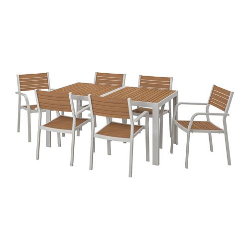 SJÄLLAND mesa+6 sillas con reposabrazos de exterior
