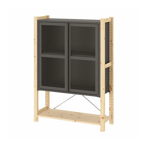 IVAR Estantería  con puertas y estantes, 1 sección 89x30x124cm