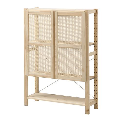 IVAR Estantería con puertas y estantes,1 sección, 89x30x124cm