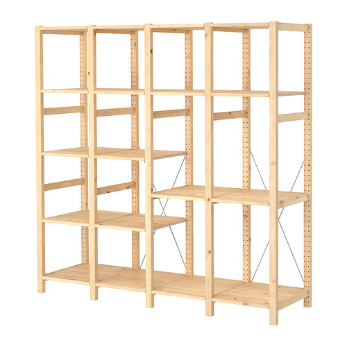 IVAR Estantería, 4 secciones con estantes, 179x50x179cm