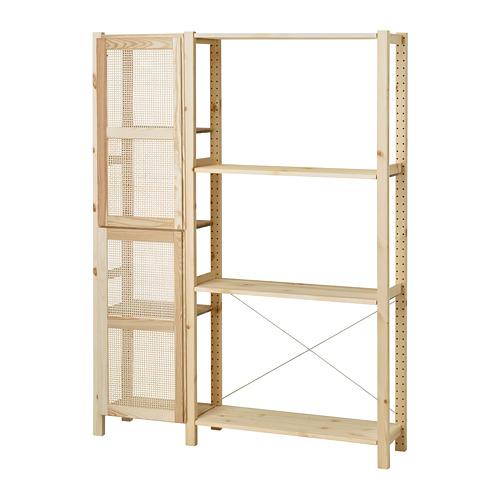 IVAR estantería, 2 secciones con puertas y estantes, 134x30x179cm