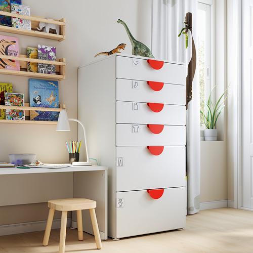PLATSA/SMÅSTAD cómoda de 6 cajones, 60x55x123cm