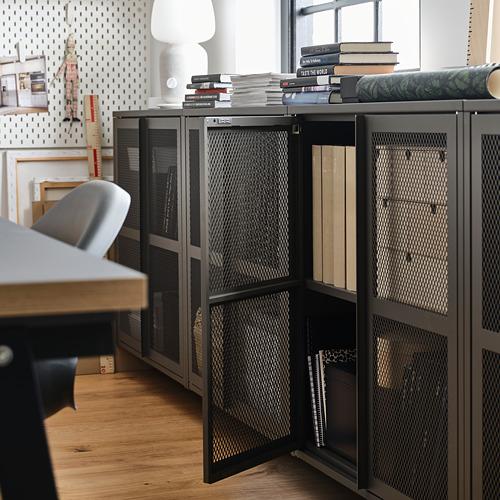 IVAR estantería  con puertas, 2 secciones, 160x30x83cm