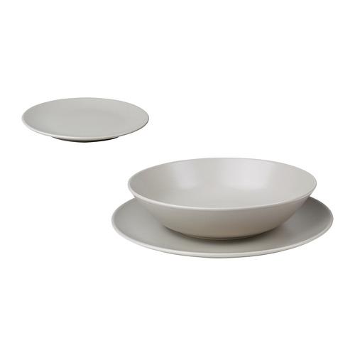 DINERA vajilla 18 piezas, incluye 6 platos de 26cm, 6 platos de 22cm y 6 platos de 20cm de diámetro