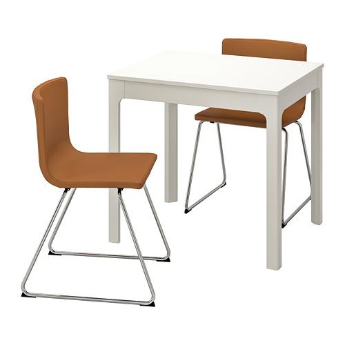 BERNHARD/EKEDALEN mesa extensible con 2 sillas, máximo extensión 120cm
