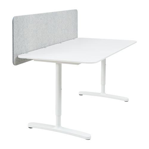 BEKANT escritorio con pantalla 160x80cm, patas regulables