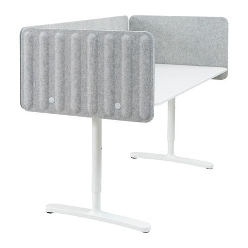 BEKANT escritorio con pantalla, 160x80cm, patas regulables