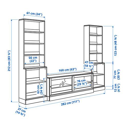 HAVSTA combinación estanterías con mueble TV, 282x47x212cm