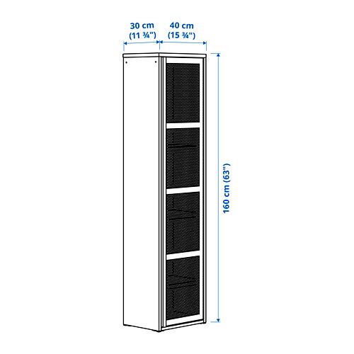 IVAR Estantería alta con puerta, 40x30x160cm