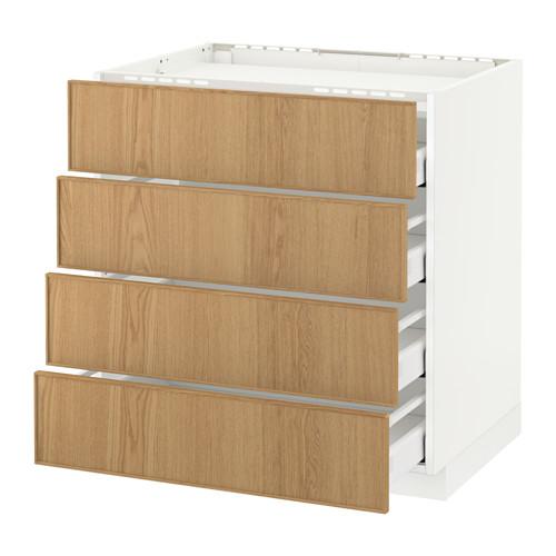 METOD/MAXIMERA armario bajo para placa 4 cajones