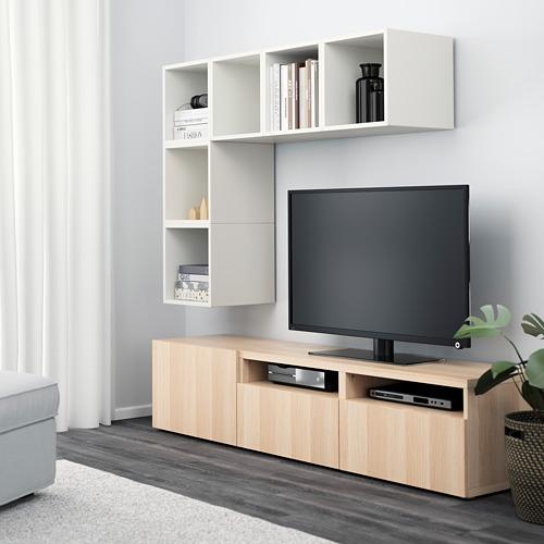 EKET/BESTÅ Mueble modular de tv con cajones y puerta combinado con estanterías cubo a la pared