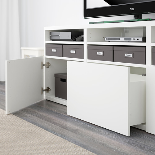 BESTÅ mueble TV + puertas vidrio y cajones