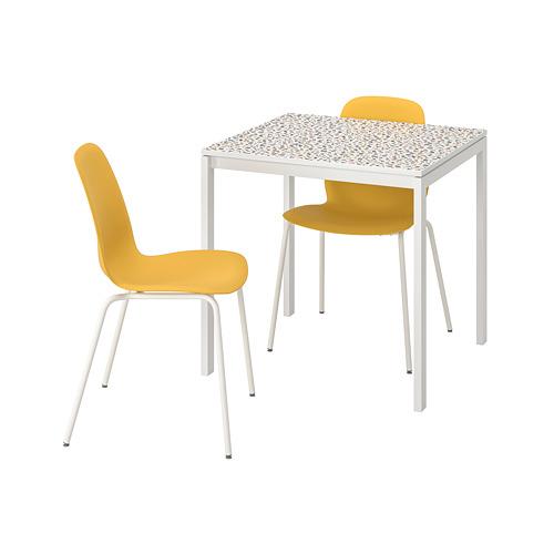 MELLTORP/LEIFARNE mesa con 2 sillas, longitud de la mesa 75cm