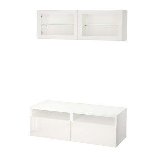 BESTÅ  combinación mueble TV con 2 cajones y mueble suspendido a la pared con 2 puertas de cristal