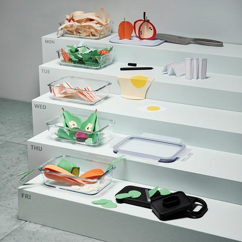 IKEA 365+ set de artículos para alimentos compuesto por: 1 mandolina, 1 caja con tarjetas, 1 cuchillo y 5 fiambreras con sus tapas