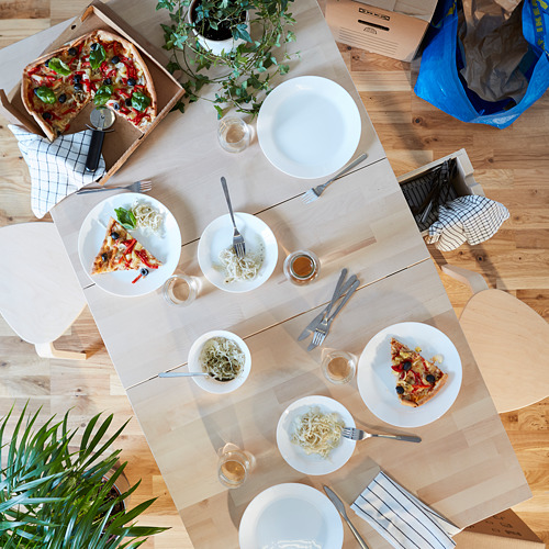 OFTAST set para mesa compuesto por 4 platos Ø25 cm, 4 platos Ø19 cm, 4 cuencos  Ø15 cm y 1 cubertería de 14 piezas