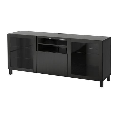 BESTÅ mueble TV con 2 puertas de vidrio y 1 cajón