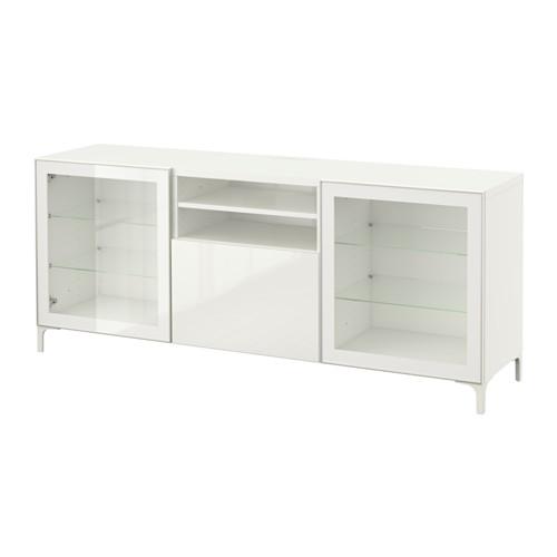BESTÅ mueble TV con 2 puertas de cristal y 1 cajón