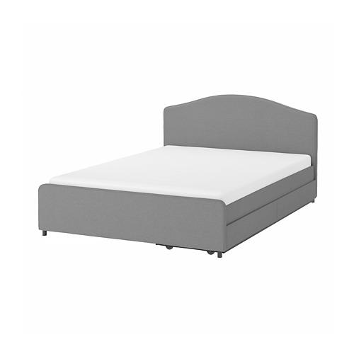 HAUGA cama 160, estructura cama tapizada con 2 cajones y somier incluido