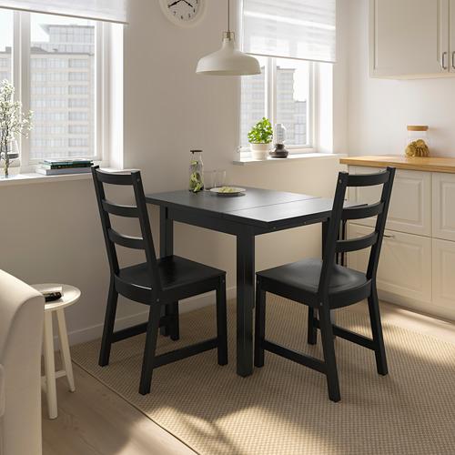 NORDVIKEN/NORDVIKEN mesa abatible con 2 sillas, máximo extensión 104cm