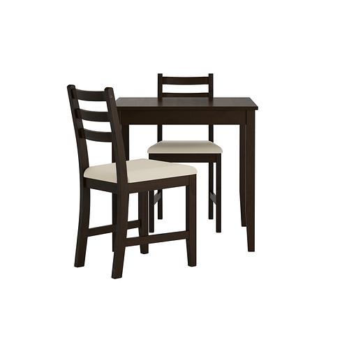 LERHAMN mesa y dos sillas, longitud de la mesa 74cm