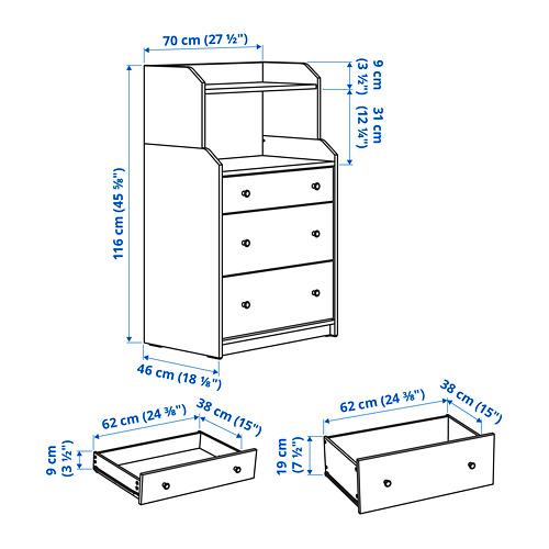 HAUGA cómoda vertical de 3 cajones, 70x46x116cm