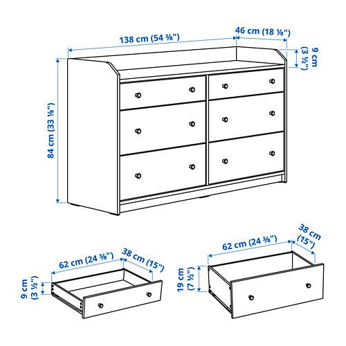 HAUGA cómoda horizontal de 6 cajones, 138x46x84cm