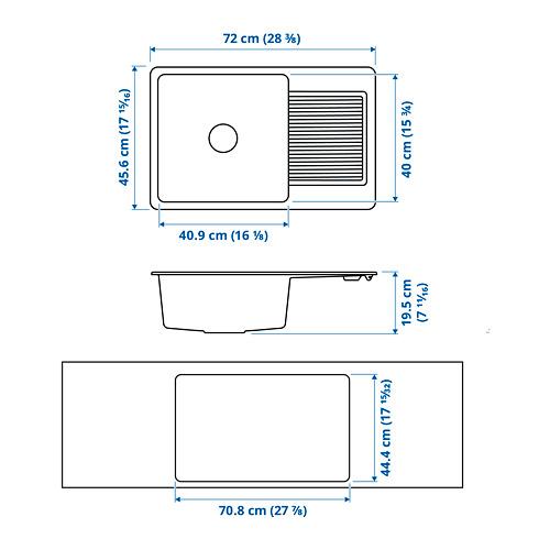 KILSVIKEN fregadero encastrado  1 seno con escurridor, incluye filtro sifón y tapón