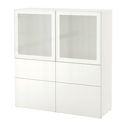 BESTÅ Vitrina con 4 cajones y 2 puertas de vidrio